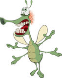 Green insect with the big teeth cartoon Stock Photos