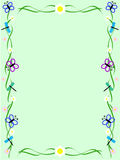 Green insect frame. Green background with ornament made of flowers, butterflies and dragonflies Stock Image