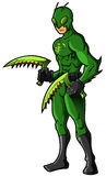 Green Insect Superhero or Villian. Cartoon character with mask and weapons Stock Images