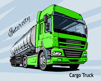 Green Intercity Big Cargo Truck Royalty Free Stock Photo