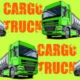Green Intercity Cargo Truck seamless background Stock Photos