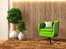 Green interior with chair and brown curtains. 3d illustration Royalty Free Stock Photo