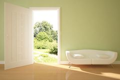 Green interior concept with open door Royalty Free Stock Photo