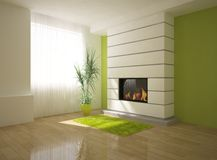 Green interior with fire Royalty Free Stock Photo