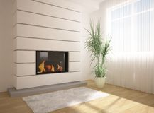 Green interior with fire. White interior with fire and flower Stock Photography