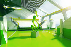 Green interior fire art piece Royalty Free Stock Photo