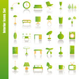 Green interior icons set stock image