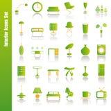 Green interior icons set. Illustration Stock Image