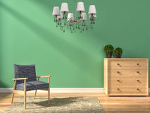 Green interior with lamp and armchair. Royalty Free Stock Photography