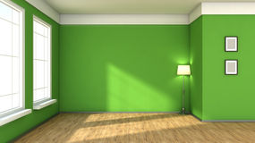 Green interior with large window Stock Photos