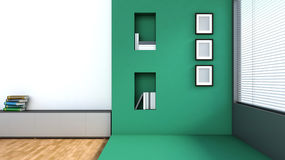 Green interior with large window Royalty Free Stock Photography