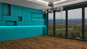 Green interior with large window. 3d illustration Royalty Free Stock Photo