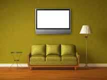 Green interior with lcd tv Stock Photography
