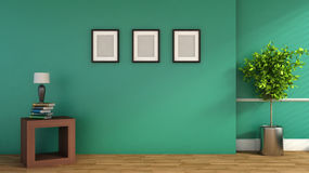 Green interior with plant and blank picture. 3D illustration Royalty Free Stock Photos