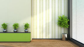Green interior with plant and shelf. 3D illustration Stock Photo