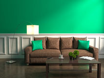 Green interior with sofa, lamp and table Stock Photography