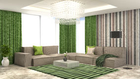 Green interior with sofa and red curtains. 3d illustration Stock Photos