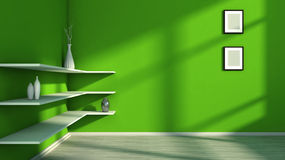 Green interior with white shelf and vases Royalty Free Stock Photography