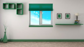 Green interior with window. 3D illustration Stock Photo