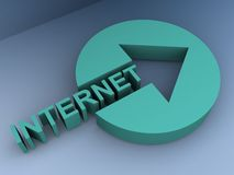 Green internet connection. Green button with arrow head cut out and inserted word 'internet' in uppercase letters, gray background Stock Photo