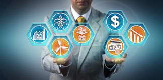 Green investor presenting falling prices for wind-plus-storage bid as an investment opportunity in the renewable resources market. Industry and business stock images