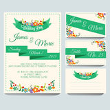 Green Invitation Pack. Invitation for wedding or any celebration. Additional file in eps 10 file, with no gradient meshes, blends, opacity, stroke path, brushes stock illustration
