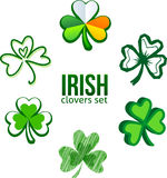 Green Irish clovers in logo style Stock Photos