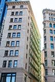Green Iron Balconies on Old Boston Building Stock Photos