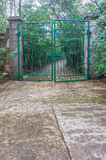 The green iron gate and the path way to park Royalty Free Stock Images