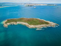Green island aerial view. Cantabria, Spain Stock Photo