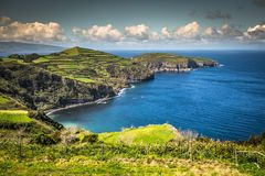 Green island in the Atlantic Ocean, Sao Miguel, Azores, Portugal.  royalty free stock photography