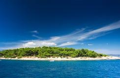 Green island in Mediterranean Sea. Small island in Mediterranean Sea Stock Photos