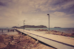 Green island and sea nature landscape vintage Royalty Free Stock Photos