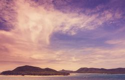 Green island and sea nature landscape vintage Royalty Free Stock Photo