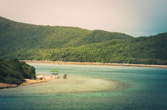 Green island and sea nature landscape vintage Stock Photography