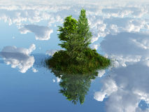 Green island surrounded by clouds Royalty Free Stock Images