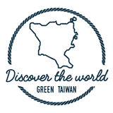 Green Island, Taiwan Map Outline. Vintage Discover the World Rubber Stamp with Island Map. Hipster Style Nautical Insignia, with Round Rope Border. Travel Royalty Free Stock Photo
