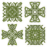 Green isolated celtic and irish crosses Stock Images