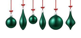 Green isolated Christmas balls set. Royalty Free Stock Photos