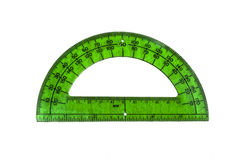 Green Isolated Protractor. Isolated image of a transparent green protractor Royalty Free Stock Image