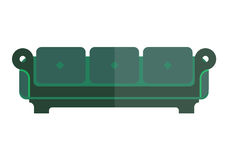 Green isolated sofa with bright and dim parts. On white. Soft emerald couch with back and armrests vector colorful illustration in flat design. Modern piece of Stock Photography