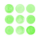 Green isolated watercolor paint circle. Green watercolor design elements isolated on white background. Light green painted stains set. Green isolated watercolor royalty free stock photos