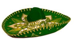 green isolerad mexikansk sombrero Royaltyfri Bild