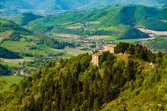 Green italian landscape refuge Furlo. A beautiful italian landscape in Italy Marche region with a mountain refuge Royalty Free Stock Image