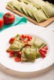Green Italian ravioli Stock Photo