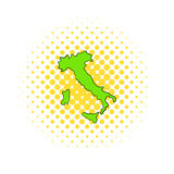 Green Italy map icon, comics style Stock Photography
