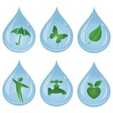 Green items and drop of water, to symbolize the nature and the ecology. Vector logo templates and elements related to ecology, environment, nature Stock Photos