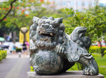 Green jade lion play ball Stock Image