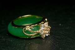Jade Ring with Diamonds royalty free stock images