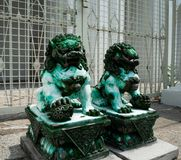 Green jade is Stone Lion Statue royalty free stock image